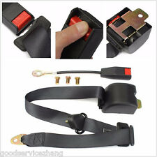 Universal Retractable Black Vehicle 3 Point Fixed Car SUV Safety Seat Belt Kit