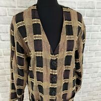 Vintage retro LisBeth brown, tan & black checker knit oversized cardigan sweater