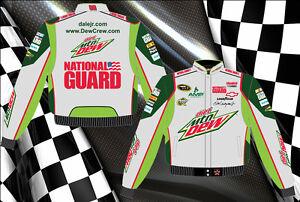 """Dale Earnhardt Jr Nascar Jacket Diet Mountain Dew Gray Green Twill """"BLOWOUT"""""""