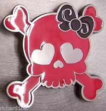 Pewter Belt Buckle Punk Girl raspberry and black NEW