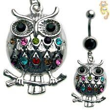 Owl Belly Ring Multi Black Naval Dangle Body Jewelry Clear CZ Animal Bird