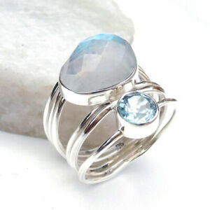 Solid 925 Sterling Silver Rainbow Moonstone & Blue Topaz Ring Size-8.75-H474