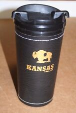 KANSAS Insulated Cold Drink Container, Faux Leather Wrap, 16 Ounce, NEW