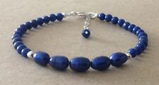Lapis Lazuli+BLUE CFW Pearl Beads, Sterling Silver, Beaded Friendship Bracelet