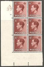1½d A 37 Cylinder Block - 15 No Dot Mounted Mint to top 2 stamps
