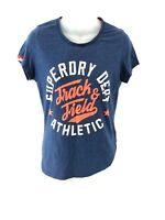 SUPERDRY Womens T Shirt Top L Large Navy Blue Cotton & Polyester