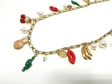 Auth TORY BURCH Gold Red Multi Hardware Fake Pearl Plastic Necklace