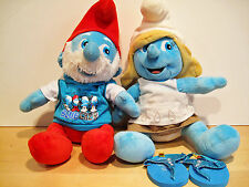 "BUILD A BEAR Papa Smurf & Smurfette 16"" with outfits"