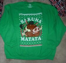 NEW DISNEY Lion King Kelly Green Men Crew Sweatshirt Hakuna Matata 2XL XXL NWT