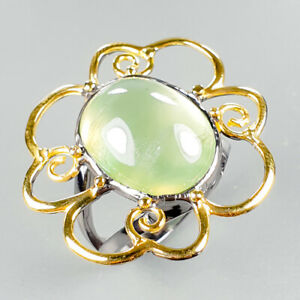Vintage SET Natural Prehnite 925 Sterling Silver Ring Size 7.5/R123357