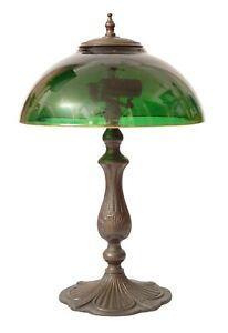 Unique Art Nouveau Brass Lamp Berlin Blumenmuster Green Gold Table Lamp
