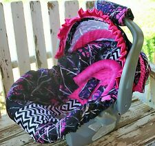 muddy girl w/ pink minky infant car seat cover and hood cover w/ pink satin ruff
