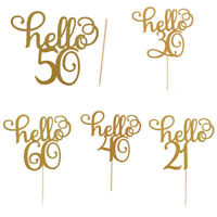 gold glitter hello 21/30/40/50/60 birthday cake topper party decor supplies XLG0