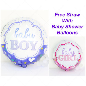 """18"""" Round Baby Girl Boy Pink Blue Foil Ballloons Bbay Shower Decorations Ballons"""