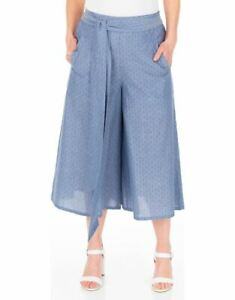 Klass Women's Pull On Culottes Ladies Self Tie Belt Trousers with Front Pockets