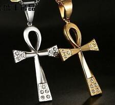 Crystals Stainless Steel Religion crucifix Cross Pendant Egyptian Jewelry Mens