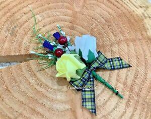 Wedding Buttonhole~Cornish Tartan~Foam Roses~Artificial Heather~Fern~Berries