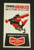 1966 Baltimore Orioles Baseball Pocket Schedule National Beer Home Run Derby