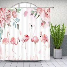 Pink Green White Rose Floral Watercolor Flamingo Fabric Shower Curtain + Hooks