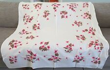 """vintage tablecloth  white w/ pink flowers cyclamen?  4 napkins NEW NOS 52""""x50"""""""