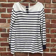 EARTH music & ecology Bow Thin Cotton Sweater White Navy Stripe M *JAPAN* Anthro