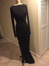 BADGLEY MISCHKA EVENING GOWN NEW BLACK LONG SLEEVES JERSEY SIZE 4