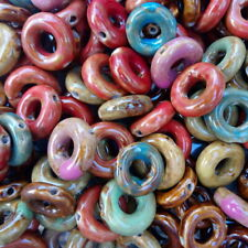 5 Mixed Colour Porcelain Handmade Donut Disc Beads 18mm - 22mm (E20)