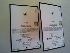Bulk Lot Of 2 X Chanel Les Exclusifs Beige & No 22 ( 2ml X 2)  Vial Card Samples