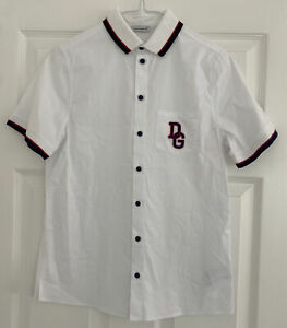 AUTHENTIC Boys Dolce & Gabbana White Short Sleeve Polo Shirt Size 11/12 Years