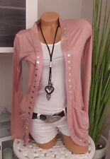 Melrose Cardigan Gr. 32 rosa rose Shirtjacke mit Nieten NEU