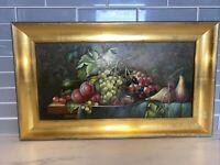 Original Oil Painting Fruit Still Life, Artist Signed Franke, Framed In Germany
