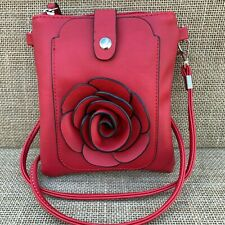 Red Rose Small Bag with Smart Phone Spectacle Holder Long Cross Body Strap