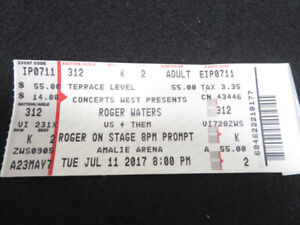 ROGER WATERS US & THEM Amalie Arena July 11, 2017 Tampa Ticket Stub Seat 2