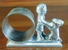 Silver-toned napkin holder CHILD WITH DOG; Victorian Style SHINY, NICE