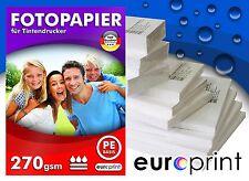 Fotopapier 270g 100 Blatt 10x15 Hochglänzend Mikroporös Rückseite PE Qualität