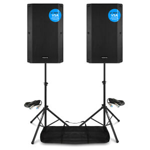 """VSA15 Pair Active PA Speakers Bi-Amp 15"""" 2000w 2-Way DJ Sound System with Stands"""