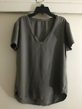 Cloth & Stone By Bella Dahl short sleeve olive green V neck T shirt Top SZ M New