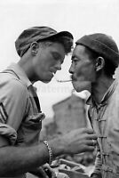 Chinese merchant lights a cigarette at an American sergeant  WW2 photo 4x6 #1515