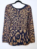 NWT $99 Chico's Long Sleeve Foil Shine Sophie Pullover Sweater, Deep Navy & Gold