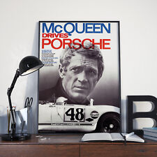 McQueen Drives Porsche canvas print poster Steve McQueen car racing