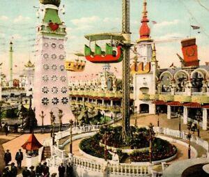 c 1907 Postcard Whirl of the Wind Luna Park Coney Island New York NY