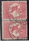 Kangaroo stamps 1d red die 1 watermark sideways pair pointing right used, RARE
