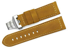 24mm Brown Genuine Leather Watch Band Strap Steel Deployant Buckle For Panerai