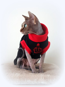 adult S/M  MIDDLE FINGER, top for a Sphynx  cat clothes, pet jumper HOTSPHYNX