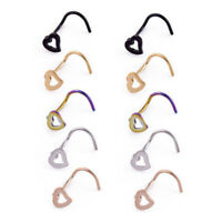 3/5pcs Stainless Steel Nostril Hoop Piercing Studs Body Jewelry Nose Ring