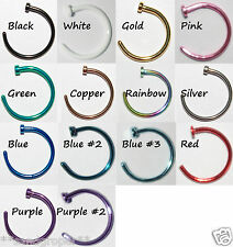 HOOP NOSE RING JEWELLERY SURGICAL STEEL - CHOOSE COLOUR & SIZE - BRAND NEW