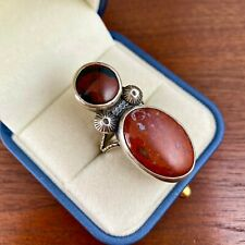 NATIVE AMERICAN STERLING SILVER DOUBLE PETRIFIED WOOD RING W/ WHEAT BAND BY MS