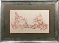 SIR WILLIAM RUSSELL FLINT SIGNED ORIGINAL RED CHALK DRAWING