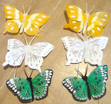 6 - Feather Butterflies for Crafting/Flower Arrange./Home Dec!