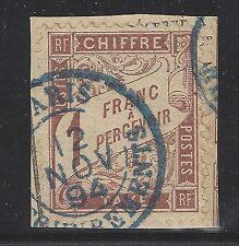 Taxe n°25 1fr Marron 1884 oblitéré sur fragment - Signé Calves